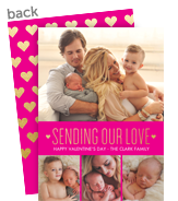 Gold Hearts on Pink - Valentine Photo Card 5x7 Flat Card