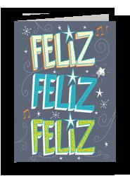 Feliz Feliz Feliz Birthday Card 5x7 Folded Card
