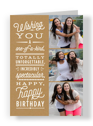 One-of-a-kind Birthday Photo Card on Craft 5x7 Folded Card