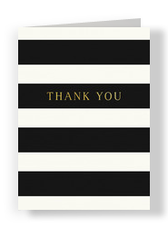 Bold Stripes Black & White Thank You Card 5x7 Folded Card