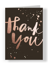 Script and Splash Foil Look Thank You Card 5x7 Folded Card