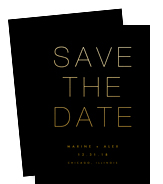 Gold on Black Save the Date 5x7 Flat Card