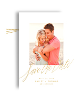 Gold Script on White Save the Date 5x7 Flat Card