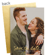 Gold Script Photo Save the Date 5x7 Flat Card