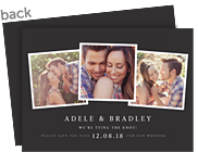 3 Photos on Black Save the Date 7x5 Flat Card