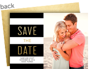 Black & White with Gold Save the Date 7x5 Flat Card