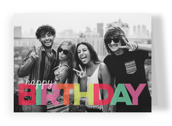 Colorful Birthday Photo Card 7x5 Folded Card