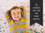 Birthday Ribbon Custom Photo Card 7x5 Folded Card