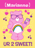 Carebears Cheer Bear Valentine 5x7 Folded Card