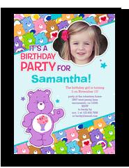 Care Bears Photo Birthday Party Invitation 5x7 Flat Card