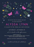 CYO Floral and Butterflies Bat Mitzvah Invitation 5x7 Flat Card