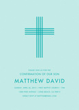 CYO Blue Tonal Stripe Cross - Invitation 5x7 Flat Card