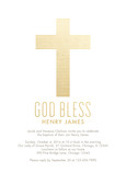 CYO Gold Stipe Cross Invitation 5x7 Flat Card