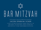Blue Bar Mitzvah with Star Invitation 7x5 Flat Card