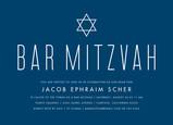 Blue Bar Mitzvah with Star Invitation 7x5 Flat Card