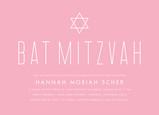 Pink Bat Mitzvah with Star Invitation 7x5 Flat Card