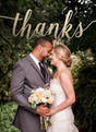 Wedding Thank You Photo Card - Gold Foil Script 3.75x5.25 Folded Card