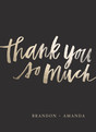 Custom Thank You Note Card - Gold Foil Script on Black 3.75x5.25 Folded Card