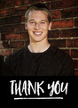 Custom Thank you Photo Card - White Lettering on Black 3.75x5.25 Folded Card