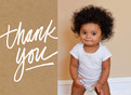 Custom Thank You Photo Card - White on Kraft 5.25x3.75 Folded Card