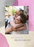 Customized Bridesmaid Invitation - Pink Watercolor Pattern 5x7 Folded Card