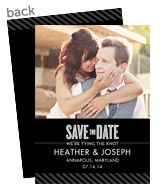 Save the Date Photo Card - Black with Gray Stripes 5x7 Flat Card