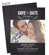 Save the Date Photo Card - Chalkboard with Blue Accents 5x7 Flat Card