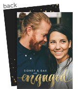 Engagement Party Invitation - Black with Gold Script 5x7 Flat Card