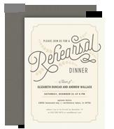 Rehersal Dinner Invitation - Formal on Cream 5x7 Flat Card
