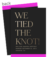 Marriage Announcement - Black and Gold 5x7 Flat Card