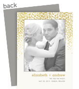 Customized Marriage Announcement - Gold Confetti on White 5x7 Flat Card