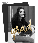 Graduation Photo Card - Gold Foil Script Overlay 5x7 Flat Card