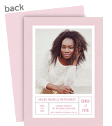 Graduation Photo Card - Pink and White 5x7 Flat Card