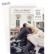 Save the Date Card - Gray with Striped Badge 5x7 Flat Card