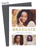 Graduation Announcement Photo Card - White and Gold 5x7 Flat Card