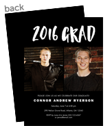 Graduation Invitiation Photo Card - White Lettering on Black 5x7 Flat Card