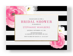 Bridal Shower Invitation - Black & White Stripes with Floral 7x5 Flat Card