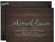 Custom Rehearsal Dinner Invitation - Blue Script on Wood 7x5 Flat Card