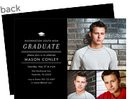 Graduation Invitation Photo Card - Black & White 7x5 Flat Card