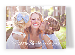Mother's Day Photo Card - White Script Overlay 7x5 Folded Card
