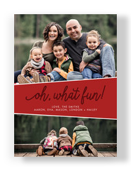 Oh, What Fun Holiday Photo Card on Red 5x7 Flat Card