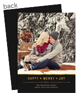 Gold Trim Holiday Photo Card 5x7 Flat Card
