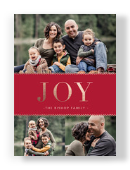 Gold Foil Joy Holiday Photo Card 5x7 Flat Card