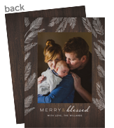 Christmas Photo Card - Merry & Blessed on Wood 5x7 Flat Card