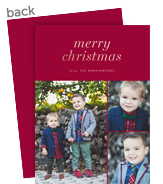 Custom Christmas Photo Card - Rose Gold on Red 5x7 Flat Card