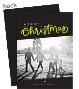Citron Christmas Photo Card on Black 5x7 Flat Card