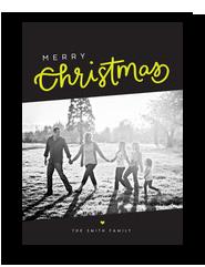 Citron Christmas Photo Card on Black 5x7 Flat Card