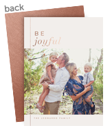 Joyful Rose Gold Holiday Photo Card 5x7 Flat Card