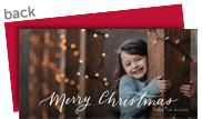 Merry Script Horizontal Christmas Photo Card 8x4 Flat Card