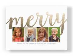 Merry Gold Foil Christmas Photo Card 7x5 Flat Card